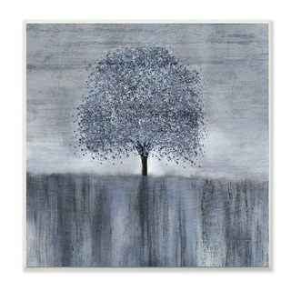 The Stupell Home Decor Neutral Grey Spotted Tree with Streaky Foreground Wall Plaque Art, 12 x 12, Proudly Made in USA - 12 x 12