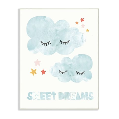 The Kids Room by Stupell Sweet Dreams Mod Blue Clouds with Eyelashes Wall Plaque Art, 10 x 15, Proudly Made in USA