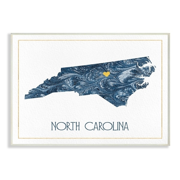 The Stupell Home Decor North Carolina Minimal Blue Marbled Paper Wall Plaque Art, 10 x 15, Proudly Made in USA