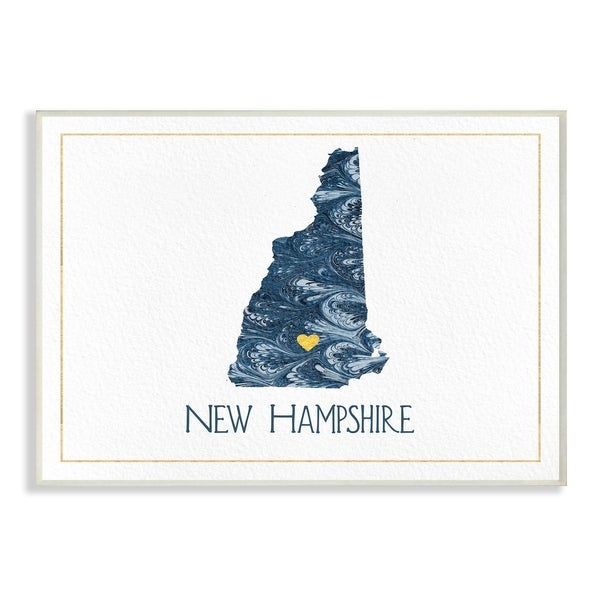 The Stupell Home Decor New Hampshire Minimal Blue Marbled Paper Silhouette Wall Plaque Art, 10 x 15, Proudly Made in USA
