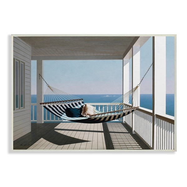 The Stupell Home Decor Blue and White Striped Hammock House Wall Plaque Art, 10 x 15, Proudly Made in USA