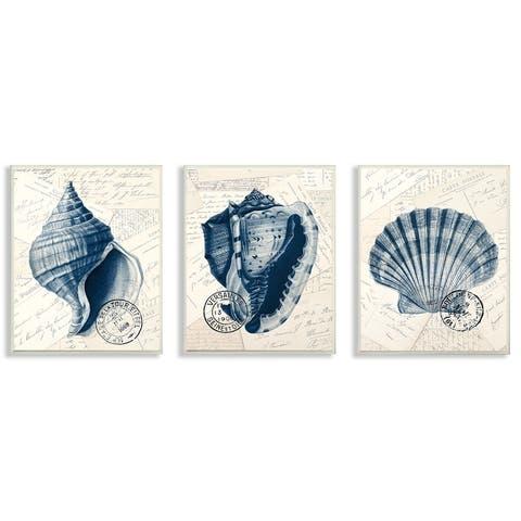 Porch & Den Vintage Blue Indigo Shells 3-piece Wall Plaque Art - 10 x 15
