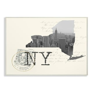 The Stupell Home Decor New York Black and White on Cream Paper Postcard Wall Plaque Art, 10 x 15, Proudly Made in USA