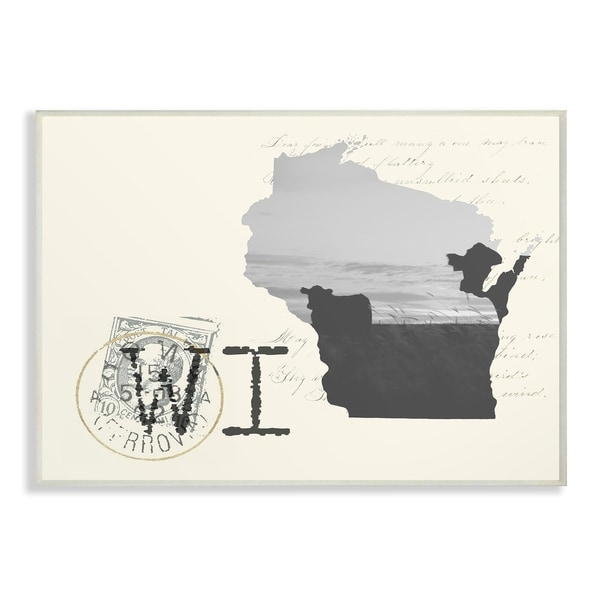 The Stupell Home Decor Wisconsin Black and White on Cream Paper Postcard Wall Plaque Art, 10 x 15, Proudly Made in USA