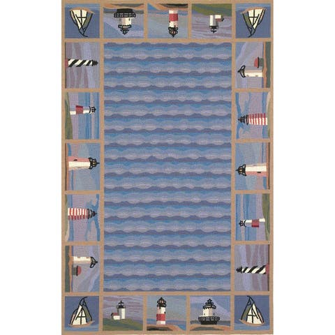 Domani Nantucket Ocean Blue Lighthouse Area Rug