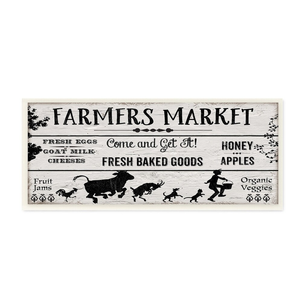 The Stupell Home Decor Black and White Farmers Market Planked Look Sign Wall Plaque Art, 7 x 17, Proudly Made in USA - 7 x 17