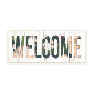 The Stupell Home Decor Welcome Planked Look Sign with Floral Letters Wall Plaque Art, 7 x 17, Proudly Made in USA - 7 x 17