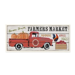 The Stupell Home Decor Home Town Farmers Market Red Pickup Truck Wall Plaque Art, 7 x 17, Proudly Made in USA - 7 x 17