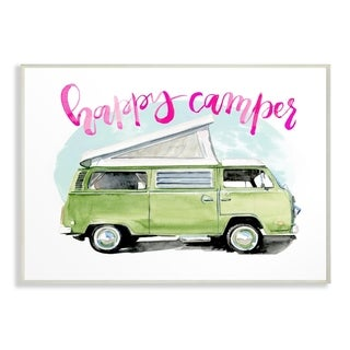 The Stupell Home Decor Happy Camper Lime Green Camper Watercolor  Wall Plaque Art, 10 x 15, Proudly Made in USA