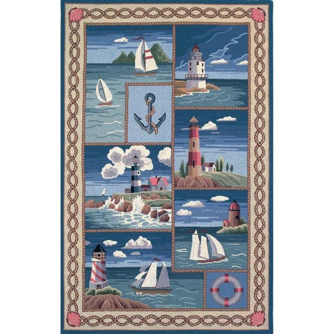 Domani Nantucket Blue Nautical Lighthouse Area Rug