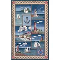 Domani Nantucket Blue Nautical Lighthouse Area Rug