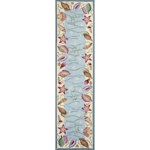 Porch & Den Pritchard Ocean Pattern Blue/Ivory Area Rug