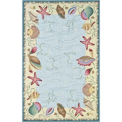 Porch & Den Pritchard Ocean Hand-hooked Wool Nautical Rug