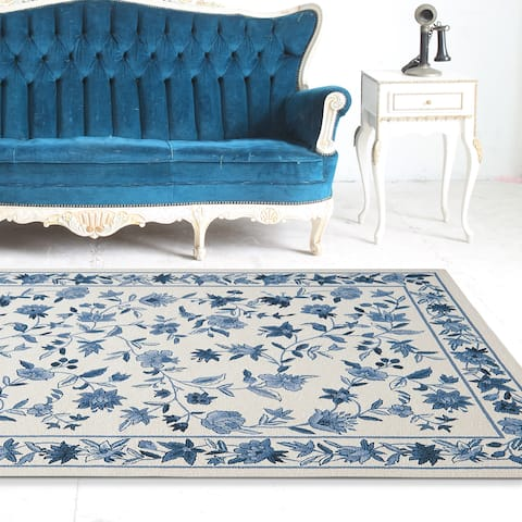 Domani Nantucket Ivory/Blue Traditional Floral Area Rug