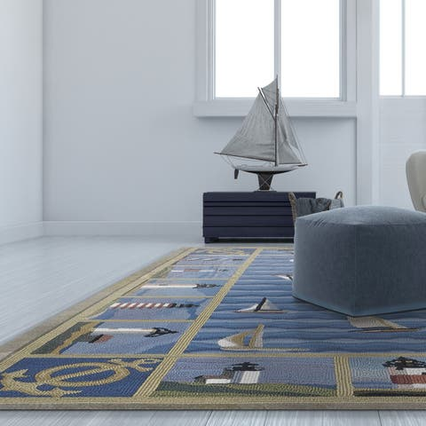 Domani Nantucket Ocean Blue Anchor Area Rug