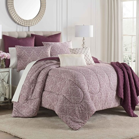Porch & Den Lancewood Burgundy 8-piece Comforter Set