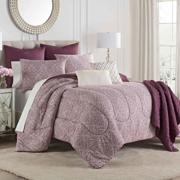 Porch & Den Lancewood Burgundy 8-piece Comforter Set