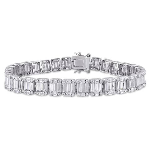 Miadora Sterling Silver 18ct TGW Multi-Cut Cubic Zirconia Tennis Bracelet