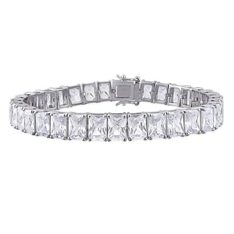 Miadora Sterling Silver 50ct TGW Rectangular-Cut Cubic Zirconia Tennis Bracelet