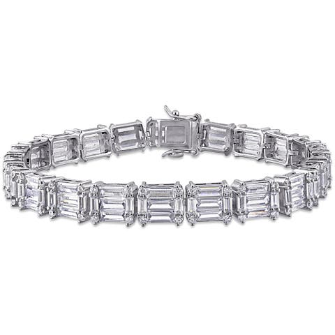 Miadora Sterling Silver 20ct TGW Multi-Cut Cubic Zirconia Tennis Bracelet