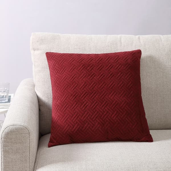 Copper Grove Rechitsa Red Microfiber Quilted Decorative Pillow
