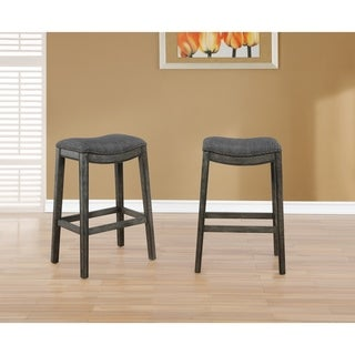 Link to Maroni Faric Upholstery Nailheaded Saddle Barstool in Gray, Set of 2 Similar Items in As Is
