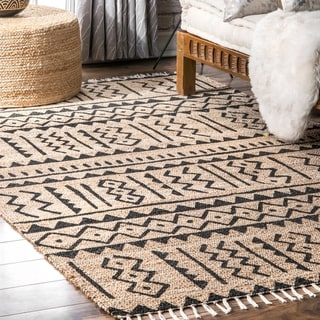 The Curated Nomad Muir Handmade Natural Fibers Jute Cotton Casual Madoly Tribal Tassel Area Rug