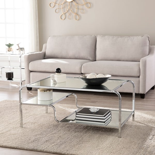 Silver Orchid Hinding Mirrored Cocktail Table