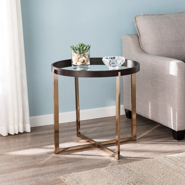 Silver Orchid Hinding Mirrored Top Round End Table