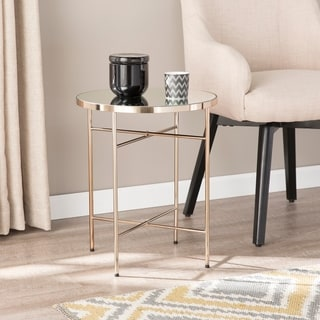 Silver Orchid Hinding Mirrored Round End Table