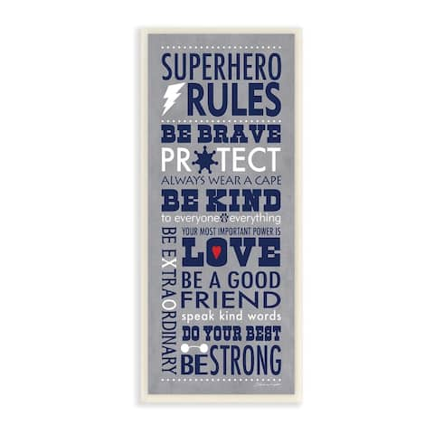 Porch & Den Grey and Navy Superhero Rules Typography Wall Plaque Art - 7 x 17