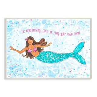 The Kids Room By Stupell Be Enchanting Blue and Pink Swimming Mermaid  Wall Plaque Art, 10 x 15, Proudly Made in USA