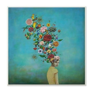 The Stupell Home Decor Flowers on Her Mind Bright Blue Floral Painting Wall Plaque Art, 12 x 12, Proudly Made in USA - 12 x 12