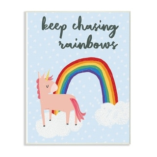 The Kids Room By Stupell Pink Unicorn Keep Chasing Rainbows Wall Plaque Art, 10 x 15, Proudly Made in USA