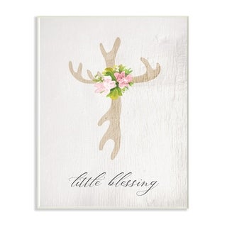 The Kids Room By Stupell Floral Antler Cross Little Blessing Baby Wall Plaque Art, 10 x 15, Proudly Made in USA