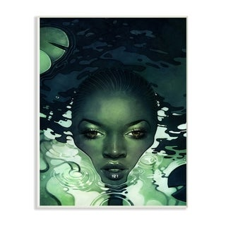 The Stupell Home Decor Green Woman in Dark Waters with Monster Leaf Wall Plaque Art, 10 x 15, Proudly Made in USA