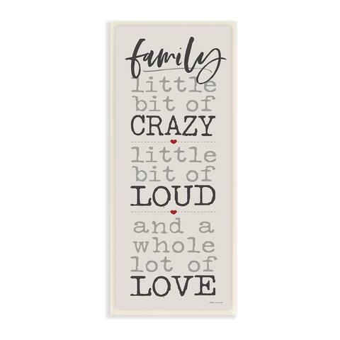 Porch & Den Little Bit of Crazy Whole Lot of Love Family Wall Plaque Art - 7 x 17