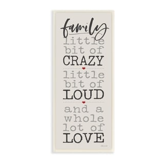 Porch & Den Little Bit of Crazy Whole Lot of Love Family Wall Plaque Art - 7 x 17