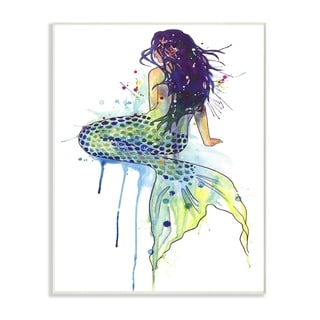The Stupell Home Decor Dripping Watercolor Mermaid with Her Back Turned Wall Plaque Art, 10 x 15, Proudly Made in USA
