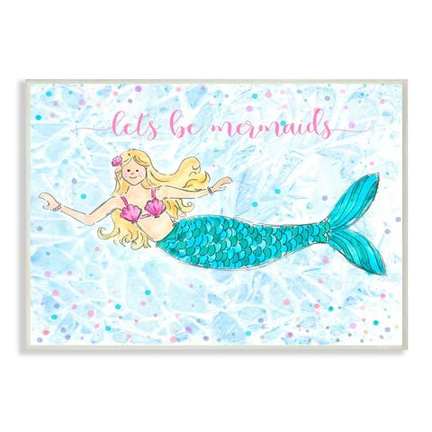 Porch & Den Lets Be Mermaids Blue and Pink Swimming Mermaid Wall Plaque Art - 10 x 15