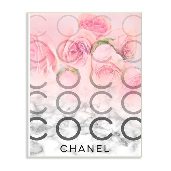The Stupell Home Decor Pink Ombre C and O Typography Over Roses and Marble Wall Plaque Art, 10 x 15, Proudly Made in USA