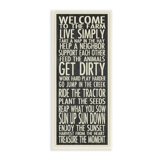 The Stupell Home Decor Welcome to the Farm Black and White Typography Wall Plaque Art, 7 x 17, Proudly Made in USA - 7 x 17