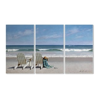 The Stupell Home Decor Two White Adirondack Chairs with Towel Wall Plaque Art, 3pc, each 11 x 17, Proudly Made in USA