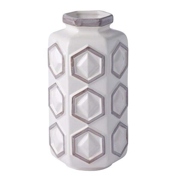 Hex White and Gray Small Hex Ceramic Vase