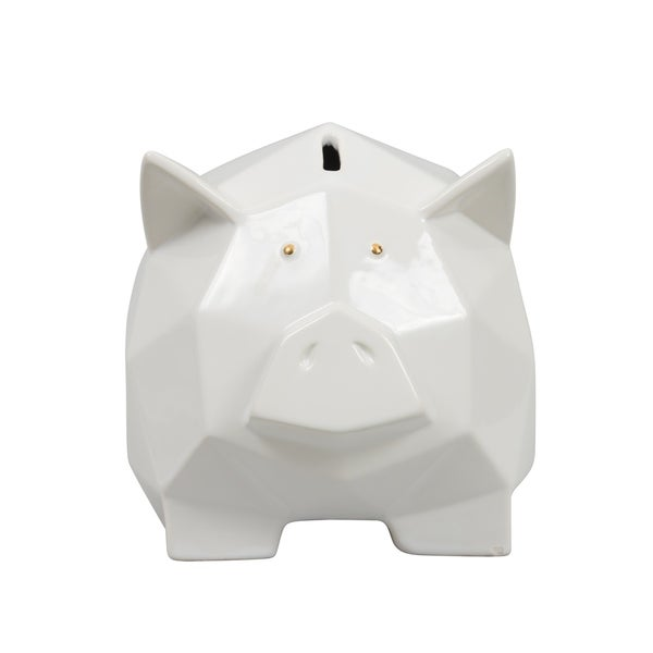 Origami Zoo White with Gold Ceramic Piggy Bank