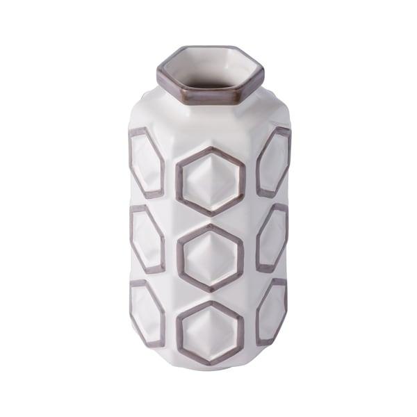 Hex White and Gray Large Hex Ceramic Vase