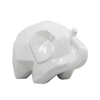 Origami Zoo White Ceramic Elephant Statue