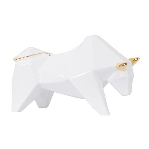 Origami Zoo White with Gold Ceramic Bull Statue