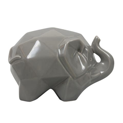 Origami Zoo Gray Ceramic Elephant Statue