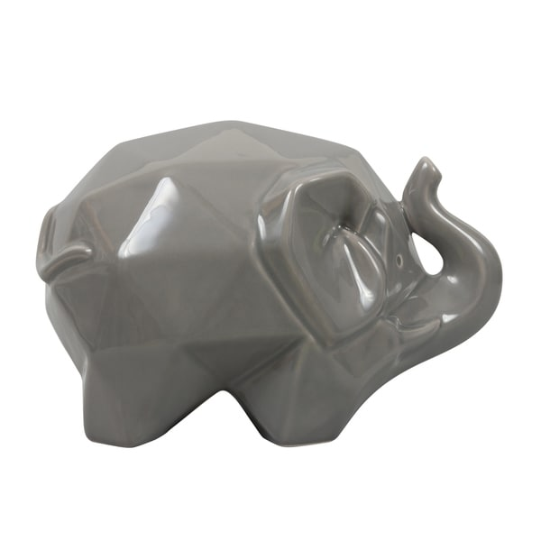 Origami Zoo Gray Ceramic Elephant Statue